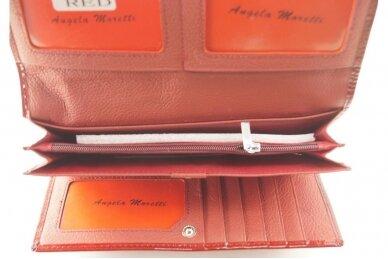 Tamsiai raudona odinė lakuota Angela Moretti moteriška piniginė 522r 4