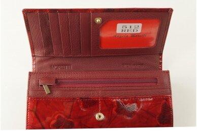 Tamsiai raudona odinė lakuota pagražinta drugeliais Angela Moretti moteriška piniginė su RFID apsauga 512r 3