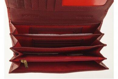 Tamsiai raudona odinė lakuota pagražinta drugeliais Angela Moretti moteriška piniginė su RFID apsauga 512r 4