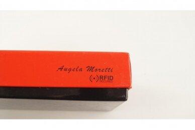 Tamsiai raudona odinė lakuota pagražinta drugeliais Angela Moretti moteriška piniginė su RFID apsauga 512r 6
