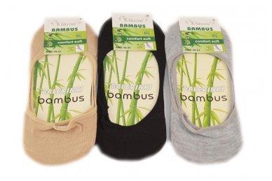 Trys poros moteriškų pėdučių su bambuko pluoštu 2020j