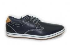 Tamsiai melsvi pasiuvinėti baltais siūlais Vico laisvalaikio batai vyrams