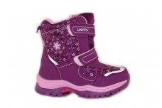 Violetiniai sportiniai žieminiai sniego batai mergaitėms su vilnos kailiu papuošti snaigėmis