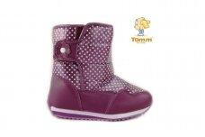 Violetiniai su taškiukias užsegami lipduku boloninės medžiagos viršumi Tom.m sniego batai su vilnos kailiu