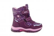 Violetiniai žieminiai sniego batai  Bessky mergaitėms su vilnos kailiu papuošti snaigėmis 0083