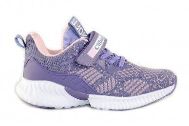 Violetiniai medžiaginiai suvarstytis gumyte su lipduku Clibee sportiniai batukai mergaitėms
