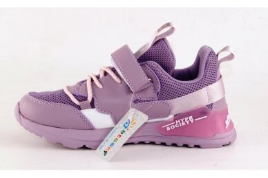 Violetiniai suvarstyti gumyte užsegami lipuku Bessky sportiniai bateliai mergaitėms 7266 2
