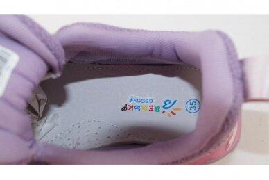 Violetiniai suvarstyti gumyte užsegami lipuku Bessky sportiniai bateliai mergaitėms 7266 4