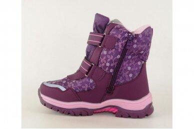 Violetiniai žieminiai sniego batai  Bessky mergaitėms su vilnos kailiu papuošti snaigėmis 0083 2