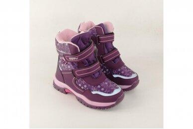 Violetiniai žieminiai sniego batai  Bessky mergaitėms su vilnos kailiu papuošti snaigėmis 0083 3