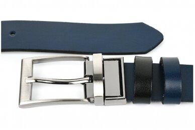 Vyriškas juodos ir tamsiai mėlynos spalvos dvipusis odinis diržas BELTIMORE A74 3