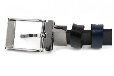 Vyriškas juodos ir tamsiai mėlynos spalvos dvipusis odinis diržas BELTIMORE A74 4