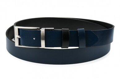 Vyriškas juodos ir tamsiai mėlynos spalvos dvipusis odinis diržas BELTIMORE A74 2